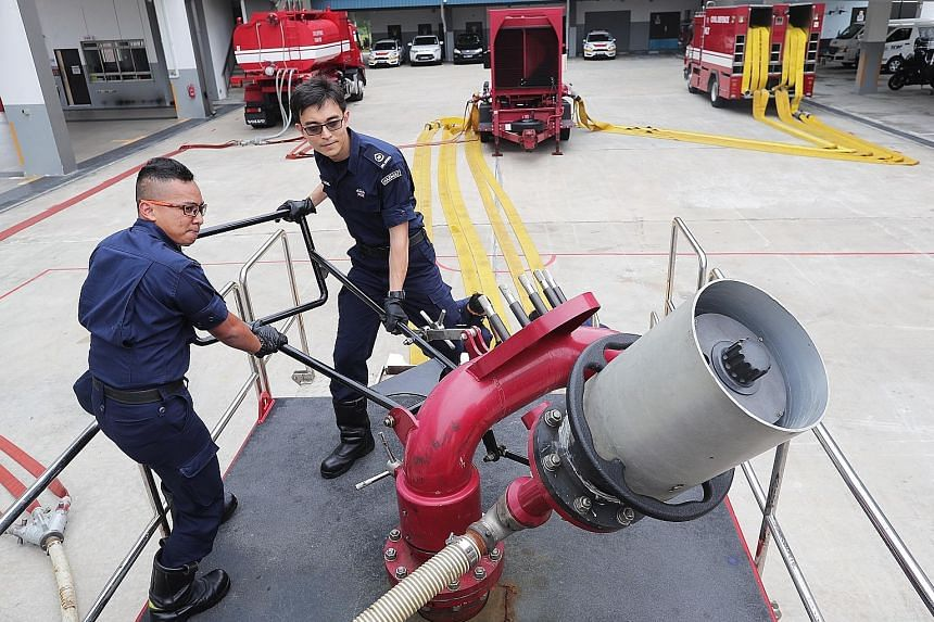 For the firefighting operation on March 20, SCDF officers had to arrange to move one of two large water guns housed on Jurong Island to Pulau Busing on a barge via Pasir Panjang Ferry Terminal.