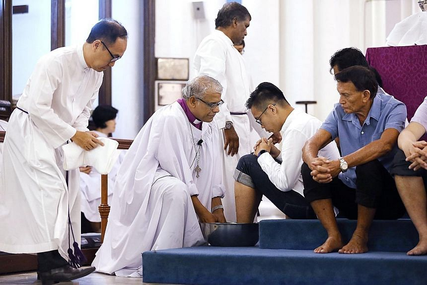 As part of its annual Maundy Thursday service, Reverend Rennis Ponniah, the Anglican Bishop of Singapore, washed the feet of 12 members of St Andrew's Cathedral. The ceremony, which signifies humility and service, commemorates the Last Supper, during
