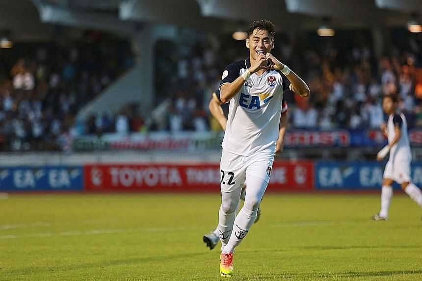 Gabriel Quak celebrating his first goal in Navy FC colours, the first by a Singaporean in the Thai League 1. His efforts were appreciated by a fan who bought him an iced chocolate and left him a note at a coffee house.