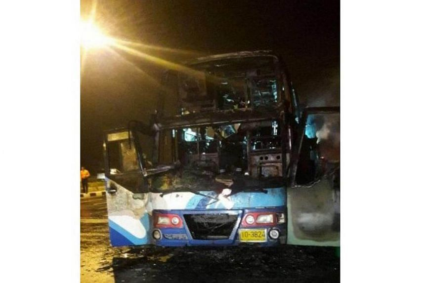 When police and fire fighters arrived, the entire bus was engulfed in the fire, which was put out shortly after.