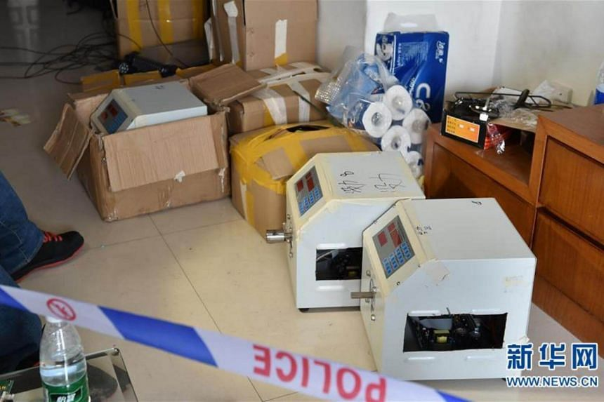 Some of the equipment seized from an apartment in Shenzhen.