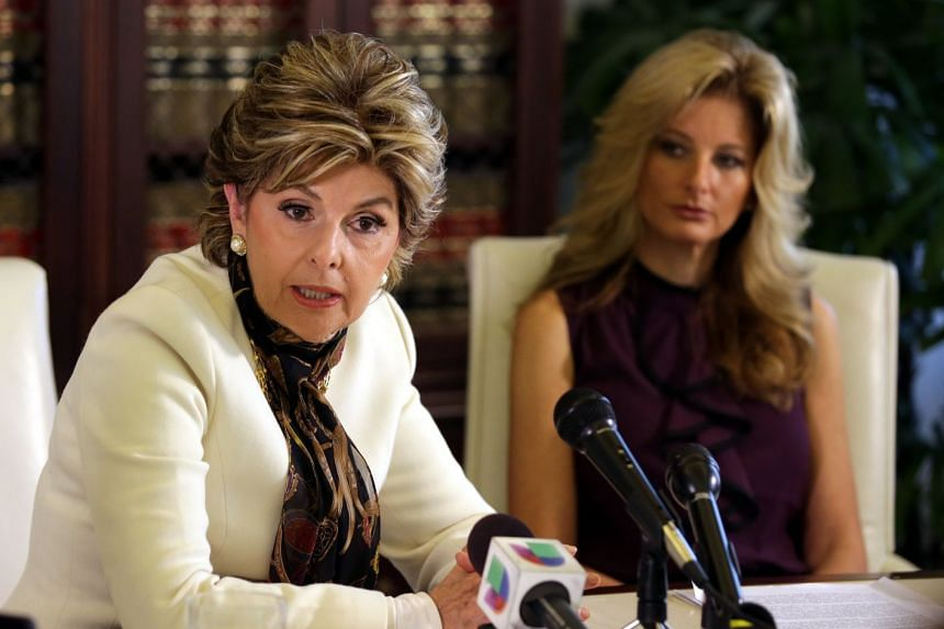 Summer Zervos (right) listens as attorney Gloria Allred answers reporters questions in 2016.
