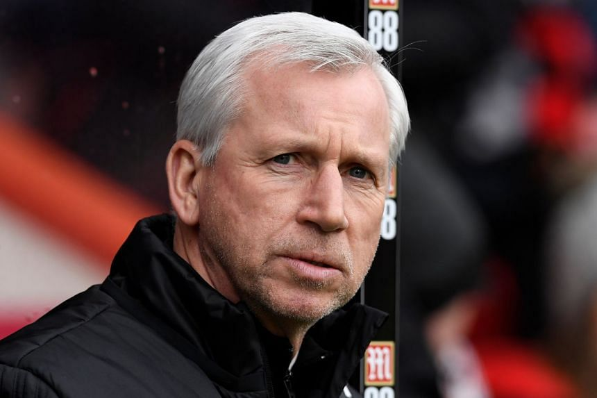 Pardew (above) replaced sacked Tony Pulis in November 2017.