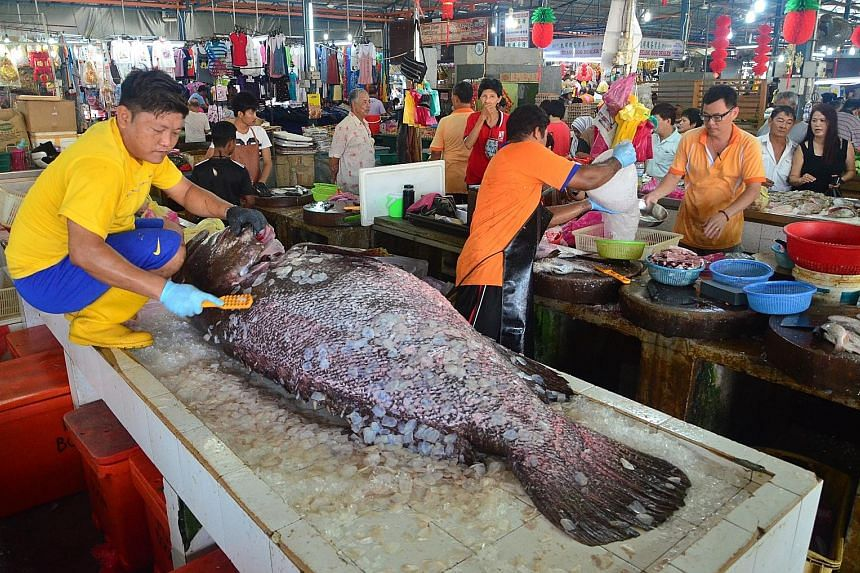 The 152kg grouper being cleaned at the Cecil Street Market in Penang. The giant fish caught the attention of many market-goers, and was later sold to a cafe owner.