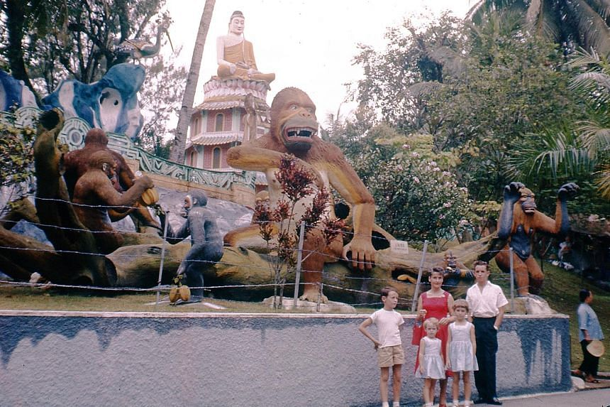 The Saunders on a family outing to Haw Par Villa. The family said that photographic slides used to cost 10 times more than a black and white negative, so few were used to capture everyday life in Singapore. A young Dr Clifford Saunders (bottom right)