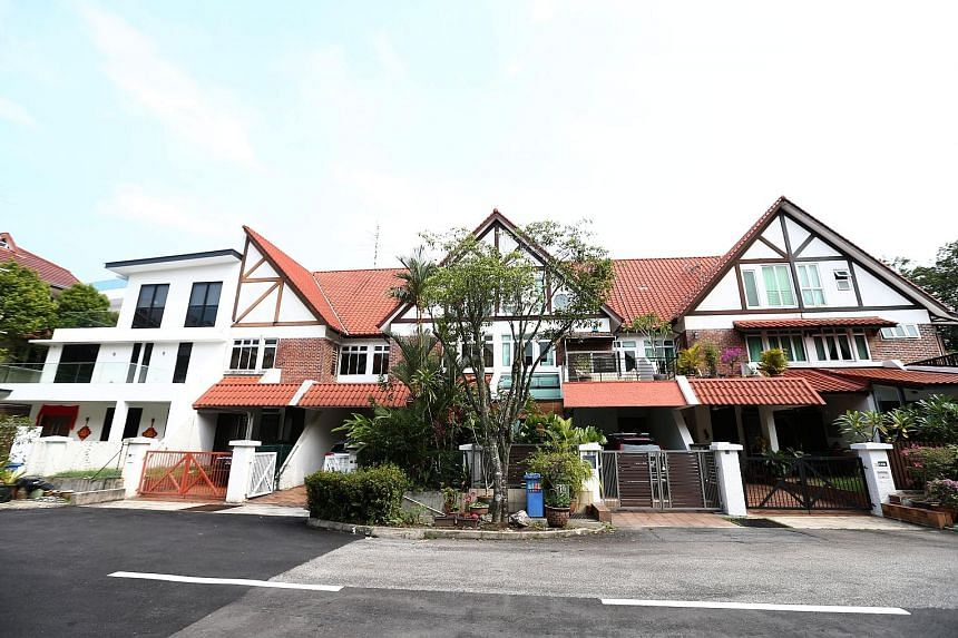 Dr Michael Teo's flat-roofed corner terrace house in Greenridge Crescent stands out among the more than 70 Tudor-style homes that were built in the 1980s.