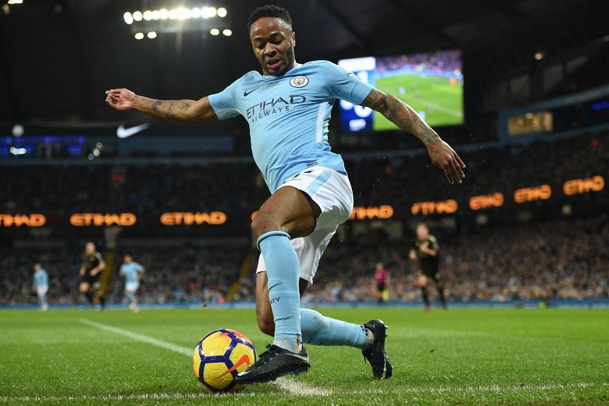 Sterling keeps the ball in play against Leicester City.