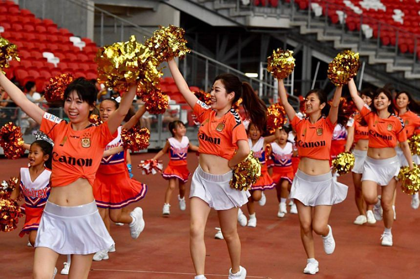 Albirex Niigata cheerleaders entertaining the crowd before the Community Shield game against Tampines Rovers at the National Stadium on March 31, 2018.