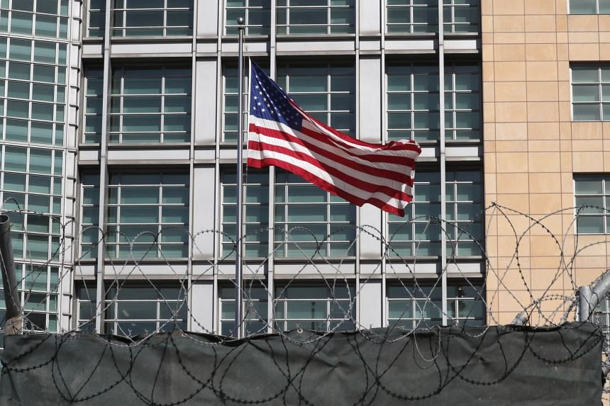 A United States flag seen in front of the US Embassy in Moscow, Russia, on March 30, 2018.
