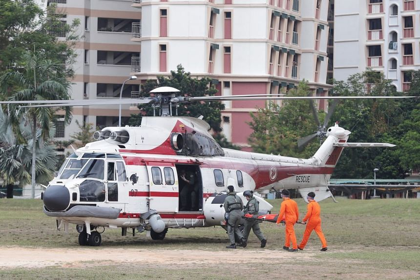 The Super Puma helicopter was used in a simulated search and rescue operation at the Republic of Singapore Air Force's golden jubilee celebrations in Sembawang on March 31, 2018.