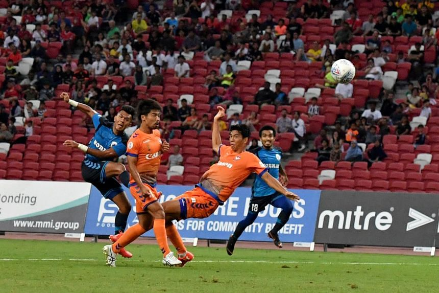 Tampines Rovers' Kharul Amri attempts a shot during the Community Shield game against Albirex Niigata at the National Stadium on March 31, 2018.