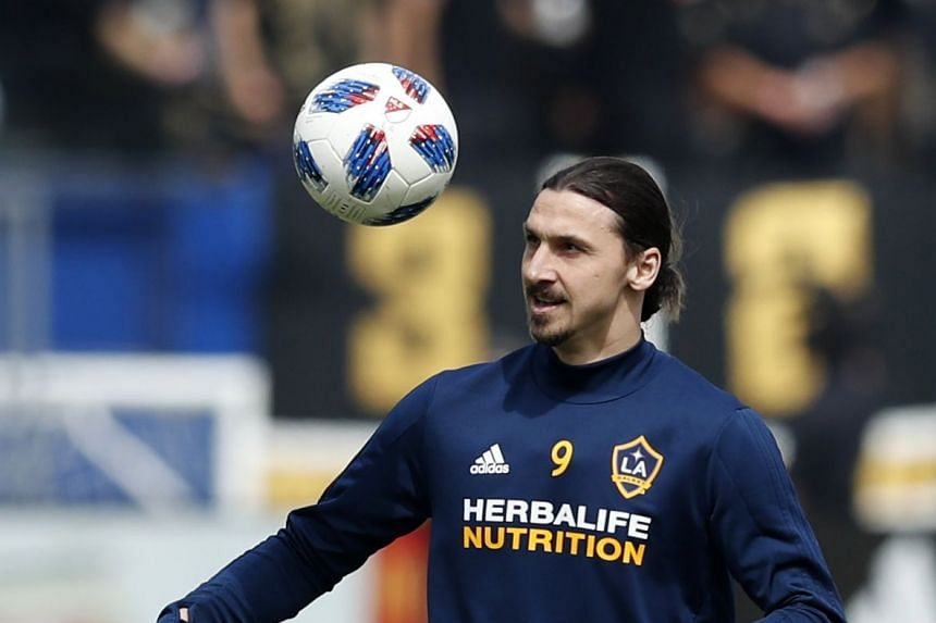 Ibrahimovic on the pitch prior to the Galaxy's game against Los Angeles FC.