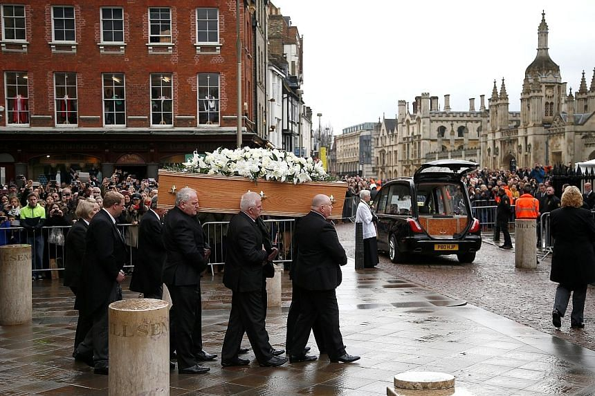 Friends, family and colleagues of cosmologist Stephen Hawking gathered yesterday to pay their respects at his private funeral in Cambridge, where the British science great spent most of his extraordinary life, Agence France-Presse reported. Dr Hawkin