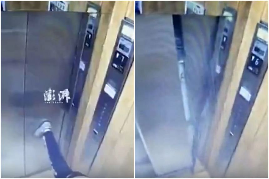 The boy, 11, wrecked the door of the lift merely by placing his foot on it for a stretch by placing his palm on the wall and his left foot on the door.