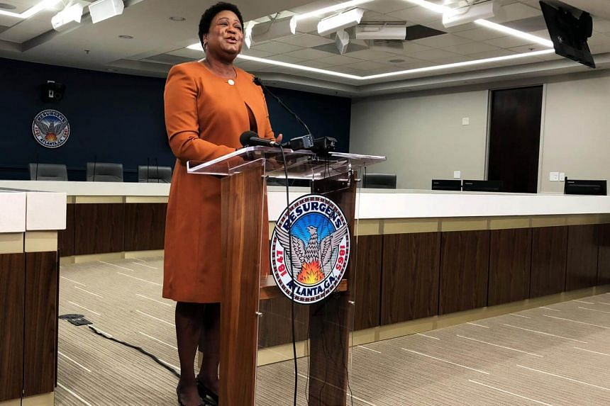 Atlanta City Council President Felicia Moore speaks about last week's cyber attack on city computers in Atlanta, Georgia on March 29, 2018.