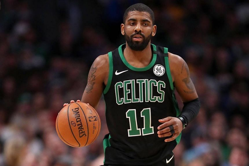 Kyrie Irving of the Boston Celtics brings the ball down the court against the Denver Nuggets at the Pepsi Center in Colorado, on Jan 29, 2018.