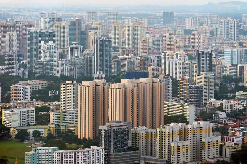 High-rise private and public residential buildings in Singapore.