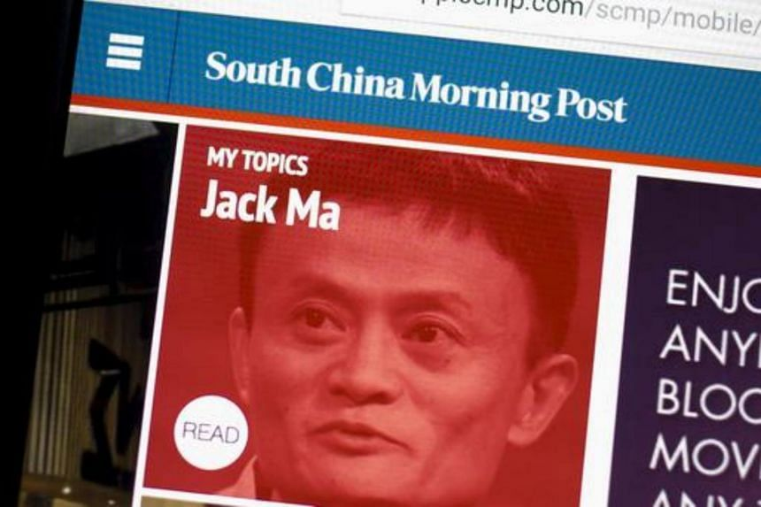 The South China Morning Post website and an image of Jack Ma, founder and executive chairman of Alibaba Group Holding Ltd, on a computer in Hong Kong.
