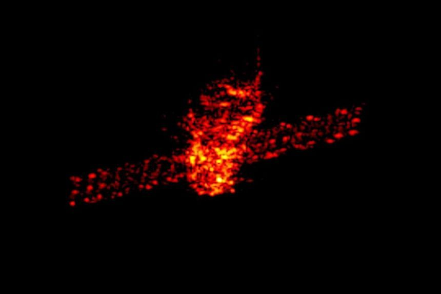 An undated handout photo made available by the Fraunhofer Institute for High Frequency Physics and Radar Techniques (Fraunhofer FHR) on March 21, 2018 shows a radar image of Tiangong-1.