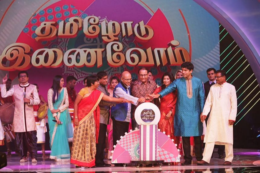Minister for Trade and Industry (Industry) S. Iswaran (centre) launching the Tamil Language Festival on April 1, 2018.
