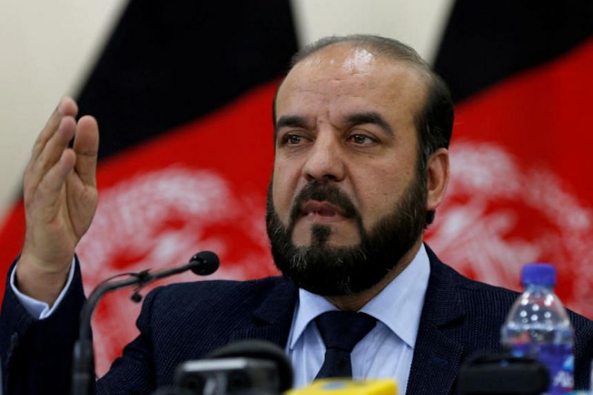 Afghan Independent Elections Commission chairman Abdul Badi Sayad speaking at a news conference in Kabul on April 1, 2018.