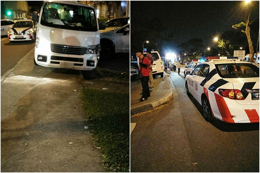 Police officers arrested a van driver for suspected drink driving after he knocked down a pedestrian in an accident.