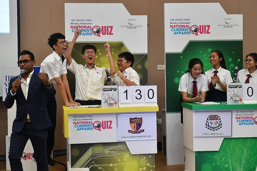 Anglo-Chinese Junior College won the last round of last year's Big Quiz, defeating Yishun Junior College. The quiz goes online this year, and questions will be based on themes and topics in a 12-part primer series that will broach contemporary issues
