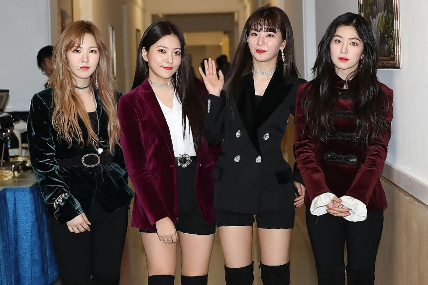 K-pop band Red Velvet after a rehearsal for their concert in Pyongyang yesterday.