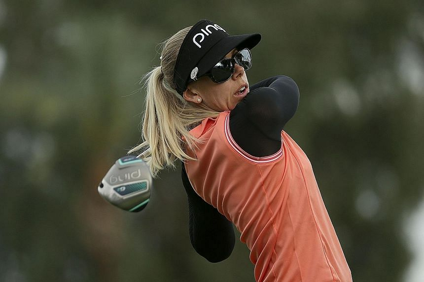Pernilla Lindberg driving on the second hole in the third round of the ANA Inspiration in California. Being in the final pairing for this morning's final round is a new experience for both her and American Amy Olson, who trails by three shots.