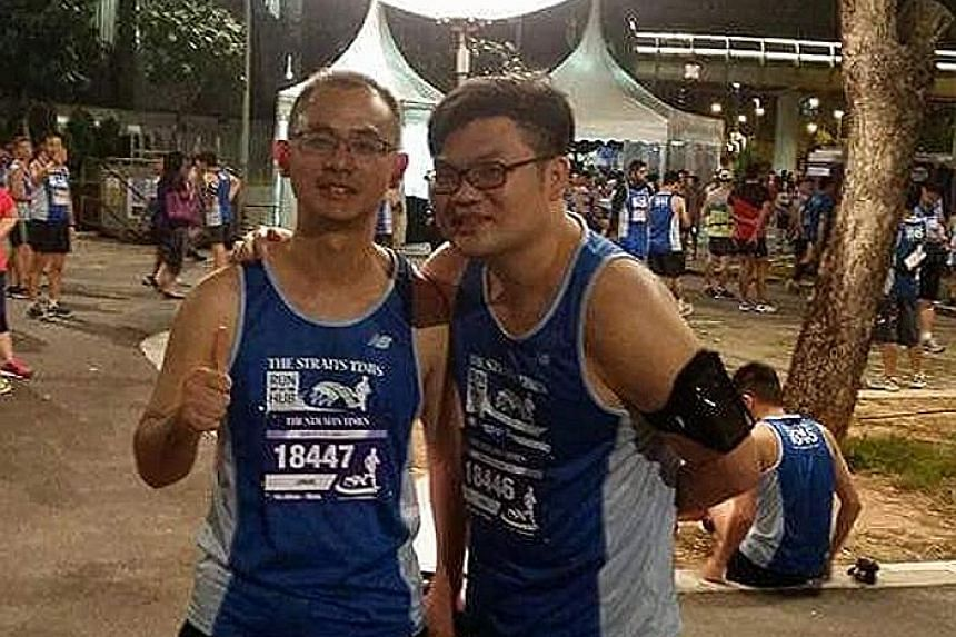 Raymond Zhang (far left) at his first ST Run in 2015 with a friend. They ran 18.45km to mark 18 years of friendship.