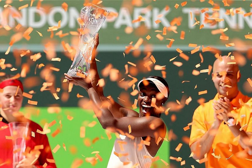 Sloane Stephens' relentless defence and Jelena Ostapenko's 48 unforced errors proved the difference as the American celebrates with the Miami Open trophy.