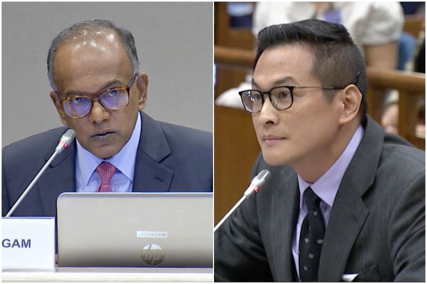 Home Affairs and Law Minister K. Shanmugam spent six hours grilling historian Thum Ping Tjin during the public hearing for the Select Committee on deliberate online falsehoods on March 29, 2018.