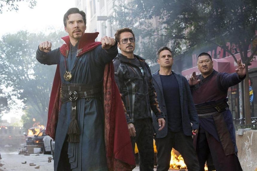 A cinema still of Avengers: Infinity War starring (from left) Benedict Cumberbatch, Rober Downey Jr, Mark Ruffalo and Benedict Wong.