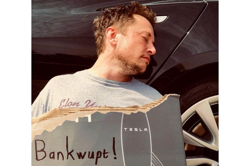 "Elon Musk posted a photo with a message that he ""was found passed out against a Tesla Model 3, surrounded by 'Teslaquilla' bottles, the tracks of dried tears still visible on his cheeks""."