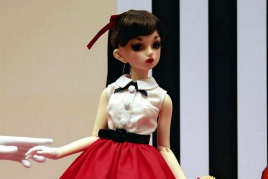 A 'Super Dollfie' doll seen in Shimogyo Ward, Kyoto, on March 31.