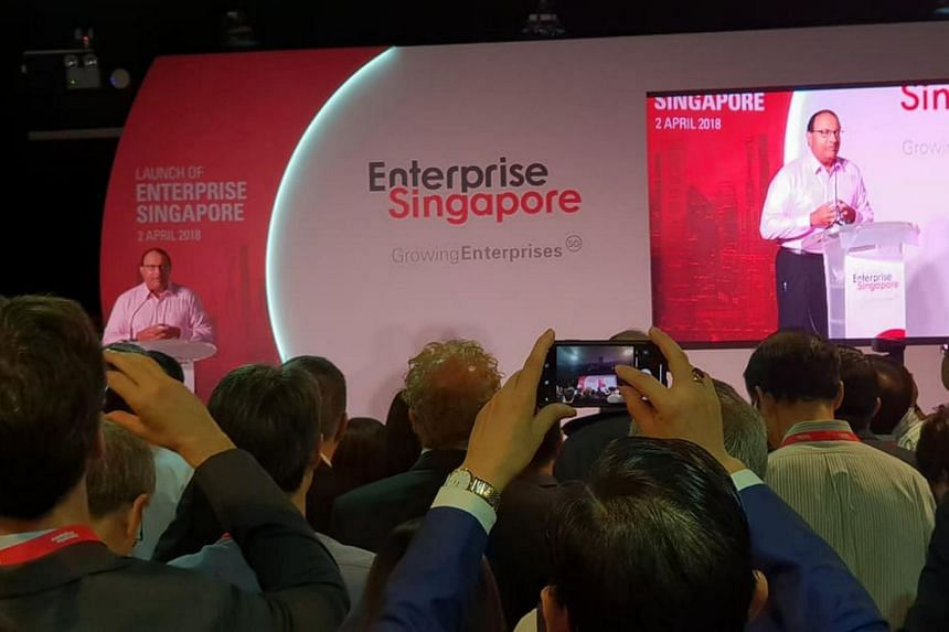 Minister for Trade and Industry (Industry) S. Iswaran speaking at the official launch of one-stop business development agency Enterprise Singapore.