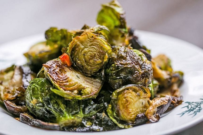 The vinegary touch to the nicely charred, stir-fried brussels sprouts with shiitake mushrooms and chilli is unnecessary.