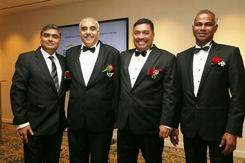 The four Indian entrepreneurs who won awards are (from left) Mr Anil Dhanpatlal Agrawal, executive director of KH Foges; Mr Ashok Khosla, founder and group CEO of Om Associates; Mr Manokaran Chakrapani, managing director of Mano Equestrian Services;