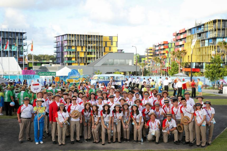 Team Singapore at the Commonwealth Games Village at Griffith University, Queensland, Australia, on April 2, 2018.