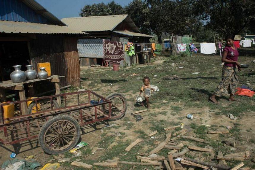 Villagers in Koe Tan Kauk village in Myanmar's Rakhine state.