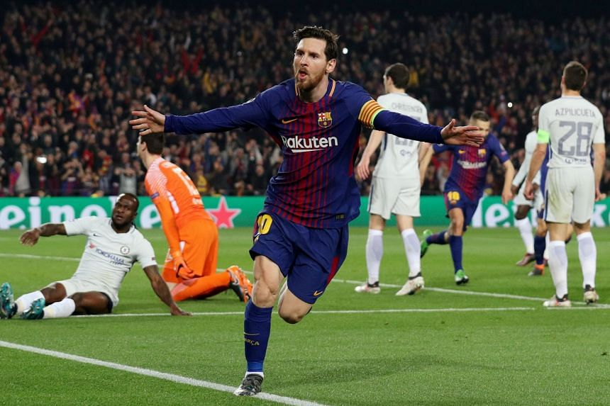 Barcelona's Argentinian superstar Lionel Messi is euphoric after scoring his second and their third goal against Chelsea in the Champions League last-16 second leg at the Camp Nou on March 14, 2018. They won 3-0 and 4-1 on aggregate.