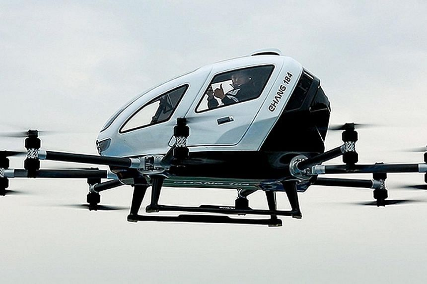 The Ehang 184 drone taxi is a single-seater electric aircraft that can be piloted remotely from a control centre.