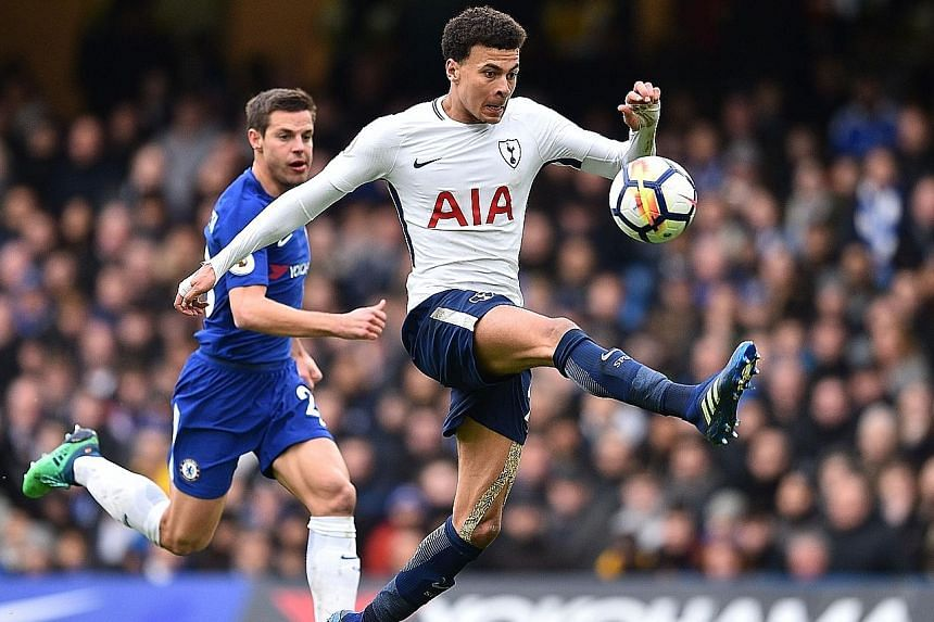 Dele Alli controlling a long pass with his first touch before scoring his first goal against Chelsea with his second. Tottenham completed a 3-1 comeback win over the defending champions to pile the pressure on Antonio Conte in just his second season