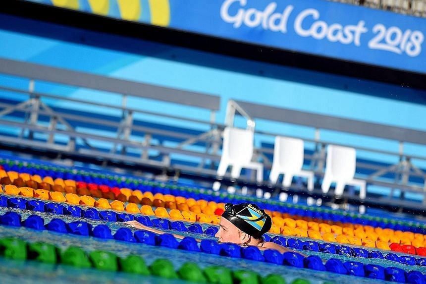A swimmer training in the outdoor pool at the Gold Coast Optus Aquatic Centre in preparation for the Commonwealth Games.
