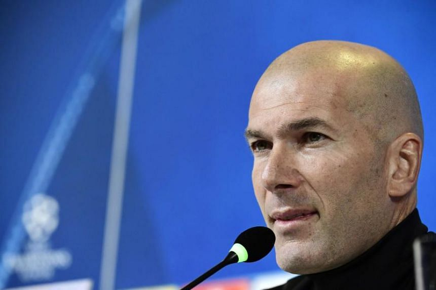 Real Madrid's French coach Zinedine Zidane during a press conference at Allianz stadium in Turin on April 2, 2018, on the eve their UEFA Champions League quarter-final first leg football match Juventus versus Real Madrid.