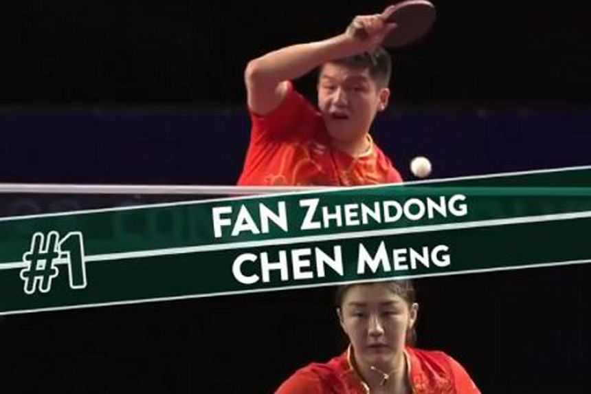 China's Fan Zhendong and Chen Meng have clinched the men's and women's top positions respectively in the latest International Table Tennis Federation world rankings.