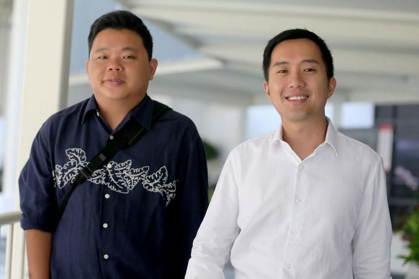 Former property agents Yao Songliang (left) and Terence Tan En Wei had pleaded guilty to four charges earlier in February and on April 3 were fined $15,000 per charge. ST PHOTOS: WONG KWAI CHOW
