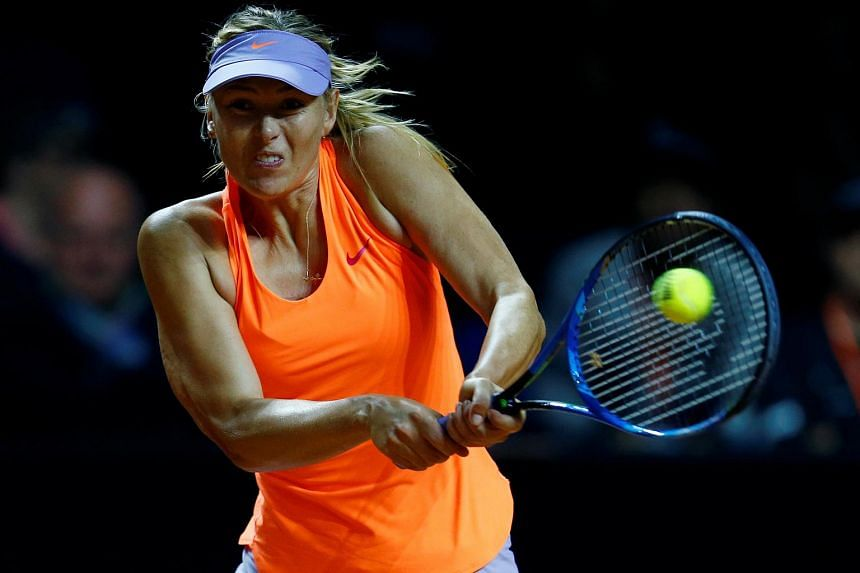 Russia's Maria Sharapova in action at the Stuttgart Tennis Grand Prix on April 26, 2017.