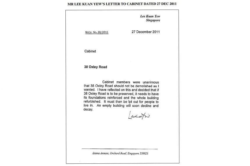 Mr Lee Kuan Yew's letter dated Dec 27, 2011, his last communication to the Cabinet on the property.