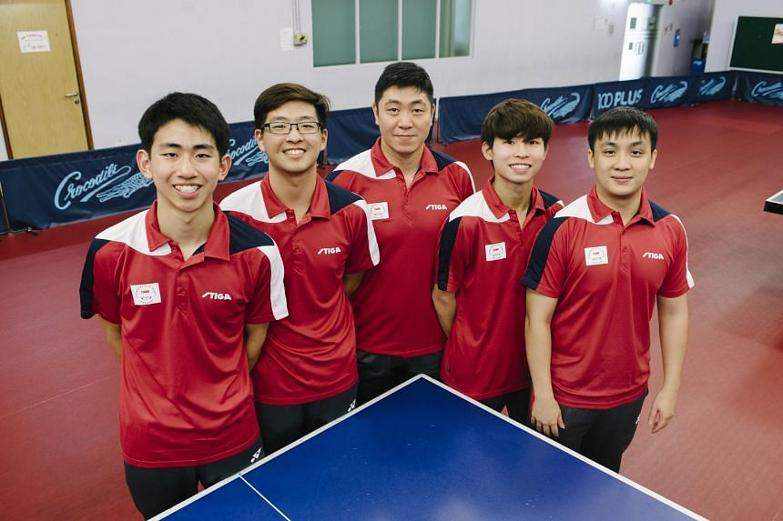 Singapore is represented by (from left) Koen Pang, Ethan Poh, Gao Ning, Beh Kun Ting and Pang Xuejie in the men's team.